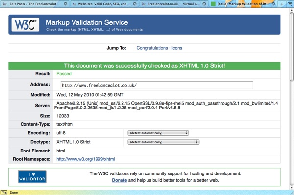 W3C Markup Validation Screenshot for Freelancealot