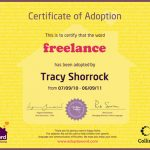 Adopt A Word Certificate for Freelance