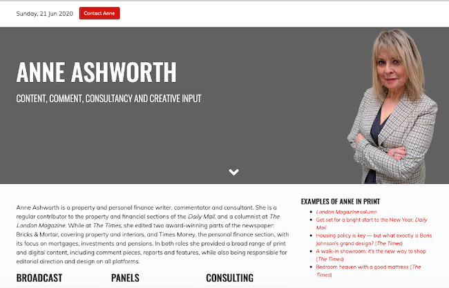 Screenshot of anneashworth.co.uk website design