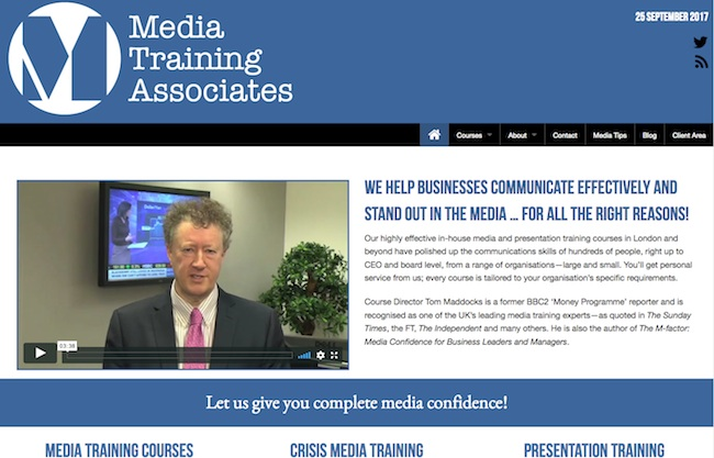 Screenshot of Mediatrainingassociates.co.uk website design